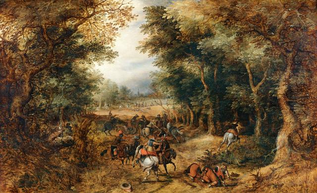 Forest Scene with Robbery