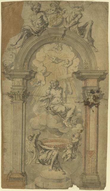 Architectural frame for a sculptural ensemble in high relief