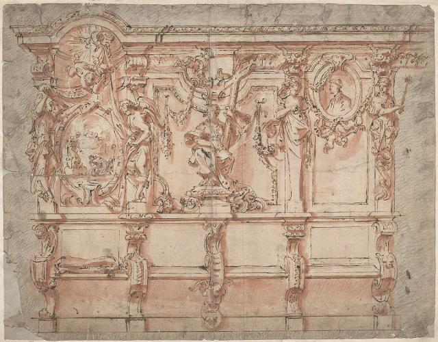 Design sketch for choir stalls at a Cistercian abbey