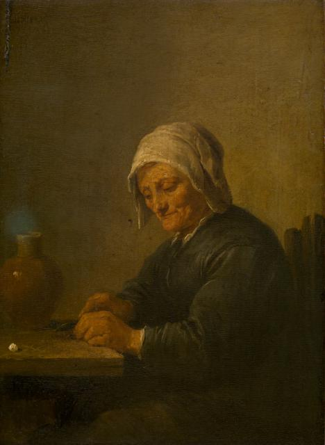 An Old Woman Cutting Tobacco