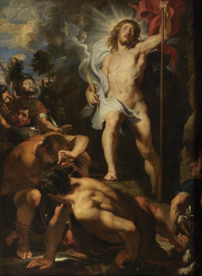 Triptych with the resurrection of Christ
