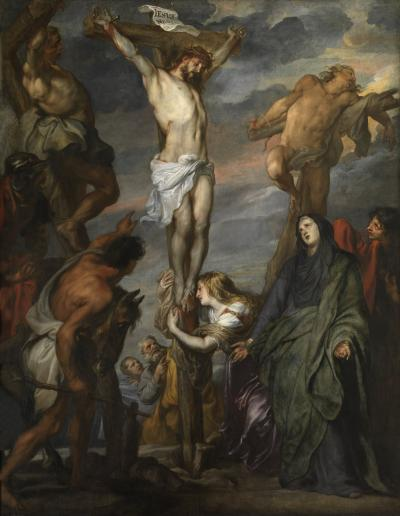 Christ on the Cross between the two thieves