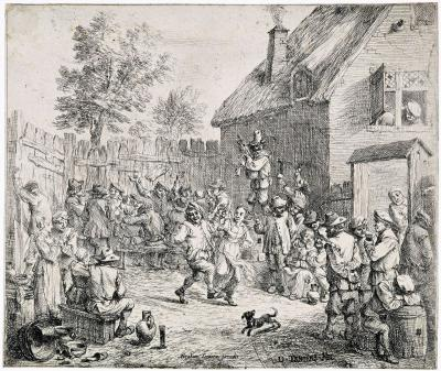 A peasant couple dancing or Village feast