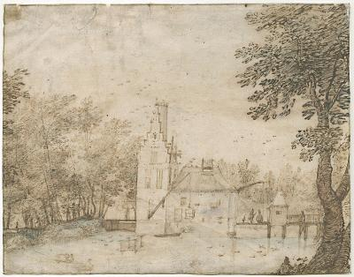 Landscape with moated castle