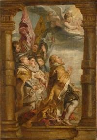 Peter Paul Rubens, De seculiere hiërarchie in aanbidding, ca. 1625